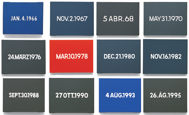 On Kawara, canvases from the 'Today Series' (1966 - 2014)