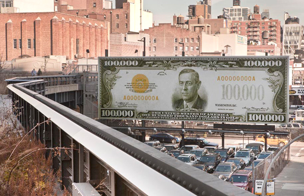 John Baldessari's The first $100,000 I Ever Made (2011) stands next to the High Line on 10th Ave & 18th St, New York