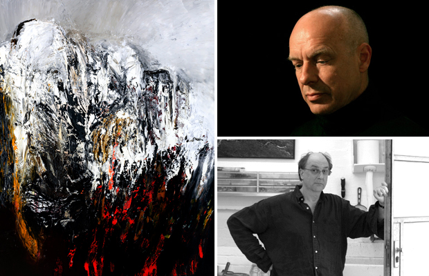 Richard Harrison (bottom right), his painting 'Moments in Fog' (2008) (left) and Brian Eno (top right) the musical genius whose varied body of work Harrison has been inspired by over the years