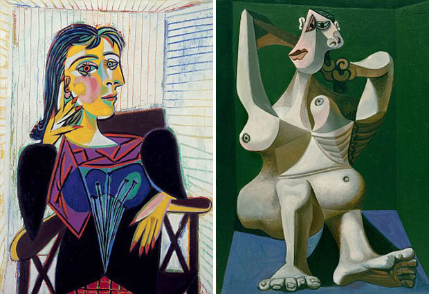 'Portrait of Dora Maar' painted by Picasso in 1937 (left) and 'Woman Dressing her Hair' in 1940 (right)