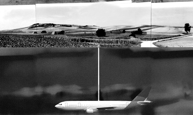 A photo collage by Roger Hiorns of Untitled (Buried passenger aircraft) 1999-2011