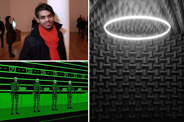 Haroon Mirza (top left), 'The National Apavillion of Then and Now' at Venice Biennale 2011 (right) and Kraftwerk (bottom left)