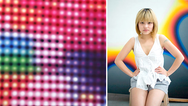 Li Shurui's acrylic painting 'Lights No.112' (left) and the artist in her Beijing studio (right)