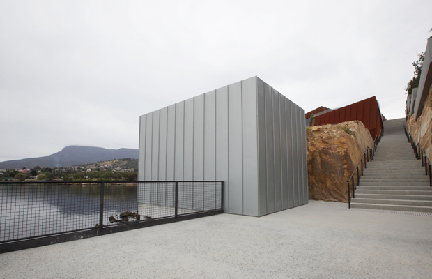 The concrete bunker that houses Christian Boltanski's video piece 'The Life Of C.B.' (2010) at MONA, Hobart, Tasmania
