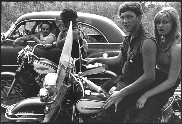 Danny Lyon, The Gary Rogues at the Dunes, Indiana. From the series Bikeriders (1963)