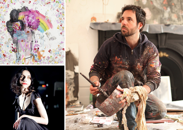 Antony Micallef (right) and his work Sweet Paris (2011) (top left) and singer Polly Harvey (bottom left)