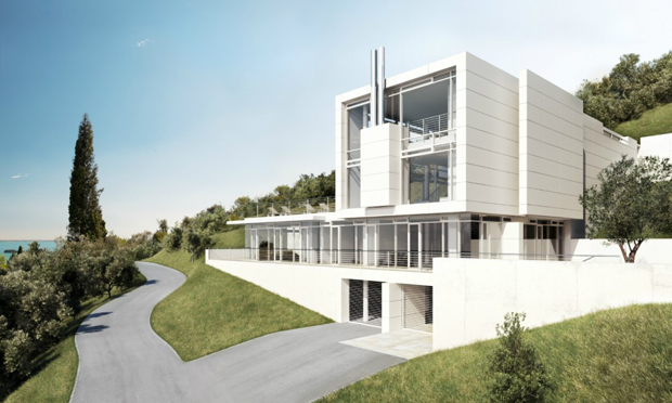 Richard Meier & Partners, CGI rendering for Villa Cardone, Lake Garda, Italy