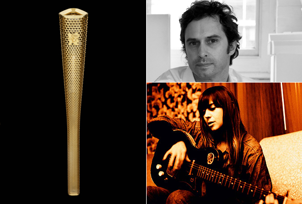 BarberOsgerby's winning Olympic Torch 2012 design (left), portrait of Edward Barber (top right) and Cat Power (bottom right) who appears on his Muse Music playlist this week