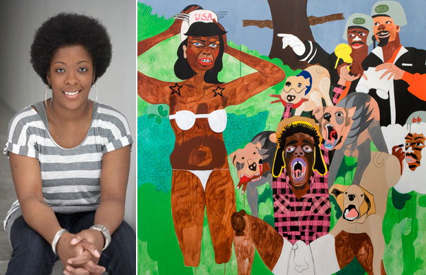 Portrait of the artist Nina Chanel Abney (left) and her work Randaleeza (2008), Acrylic on canvas, 228.5 x 233.5 cm (right)