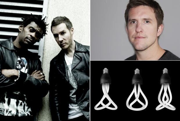 Massive Attack (left), the designer Samuel Wilkinson (right) and his energy efficient light bulb 'Plumen 001' which won him the Design of Year Award 2011