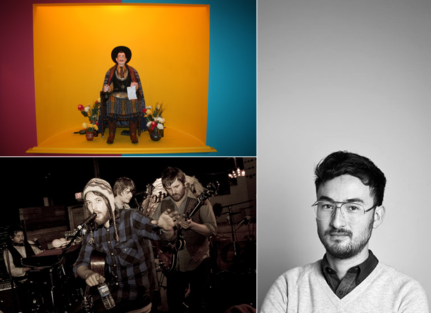 Simon Fujiwara's work 'Saint Simon' (2012) (top left) image courtesy the artist © Tate, portrait photograph of the artist Simon Fujiwara (right) and Fleet Foxes (bottom left) who appear on the artist's Muse Music playlist, photo Ali Bagheri