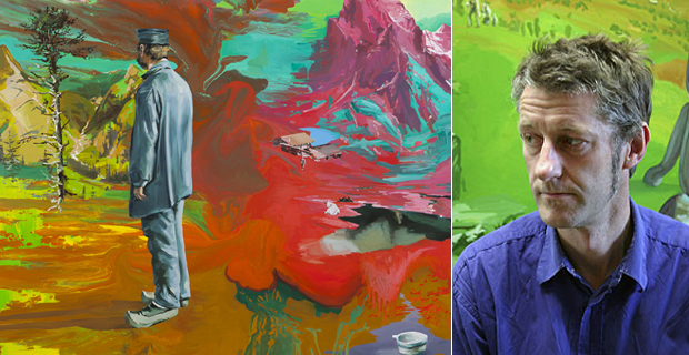 Portrait of the artist Stephen Bush (right) and his work Kapock (2010), Oil and enamel on linen, 200 x 310cm (left)