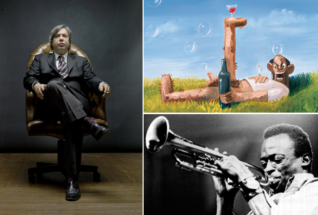 Portrait of the artist George Condo (left), his painting 'Uncle Joe' (2005) (top right) and Miles Davis (bottom right) who features on the artist's Muse Music playlist