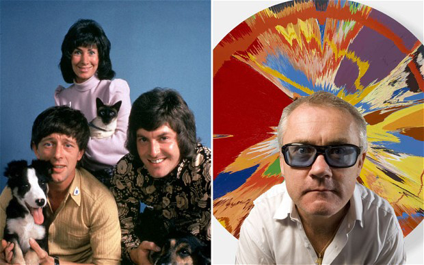 Blue Peter presenters circa 1975 and Damien Hirst