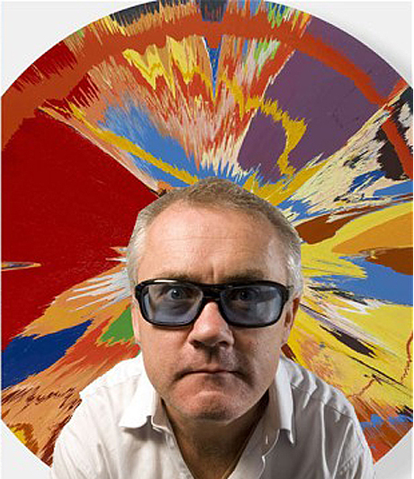 Hirst in front of one of his derided spin paintings