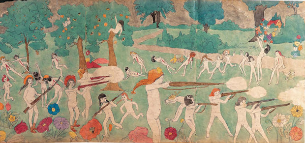 Detail from untitled (double-sided), illustration for In the Realms of the Unreal (mid 20th century) by Henry Darger.