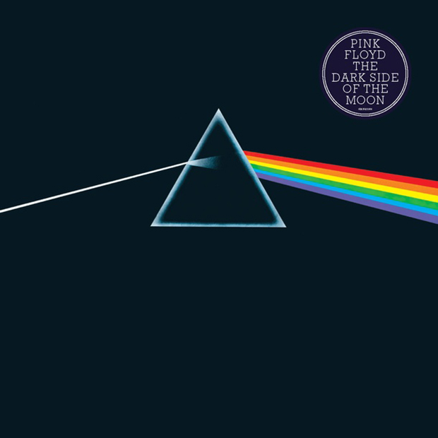 The cover of Dark Side of the Moon, 1973, by Pink Floyd. Image courtesy of the V&A. ©Pink Floyd Music Ltd