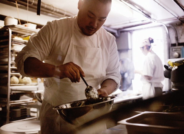 David Chang in the kitchen of Momofuku restaurant, New York, USA