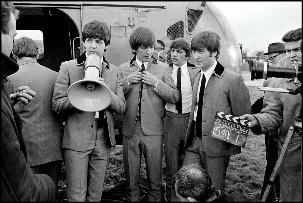 "The Beatles during filming of ""A Hard Day's Night."" London, England. 1964 © David Hurn / Magnum Photos"