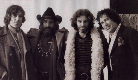 Film makers Donald Cammell, Dennis Hopper, Alejandro Jodorowsky and Kenneth Anger in London, 1971