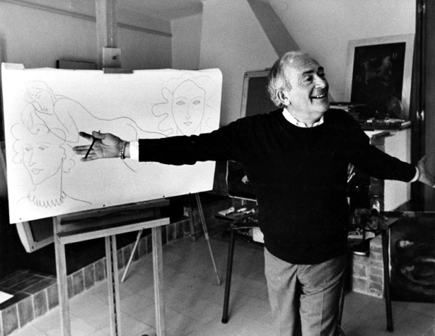 Elmyr de Hory with one of his Matisse-style drawings in 1969
