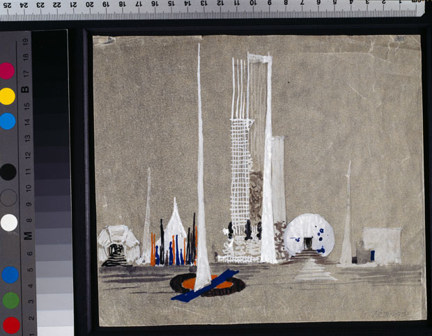 Ivan Leonidov, United Nations Building, 1947-48, gouache, watercolour, pencil, tracing paper, white highlightings. Tchoban Foundation