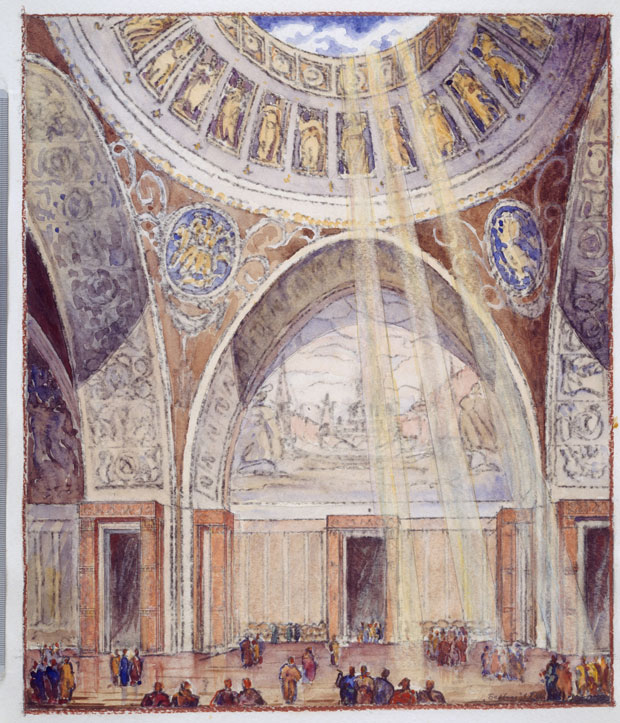 Boris Iofan, Vladimir Shchuko and Vladimir Gelfreikh, Palace of the Soviets, 1944, pastel, watercolour, charcoal, pencil, paper. Tchoban Foundation.