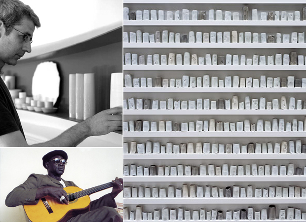 Edmund de Waal (top left), his piece 'A Change in the Weather' of 2007 (right) and the artist Ali Farka Touré (bottom left) who features on De Waal's Phaidon playlist