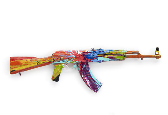 Spin AK47 for Peace Day (2012), verso. Photographed by Prudence Cuming Associates © Damien Hirst and Science Ltd. All rights reserved, DACS 2012