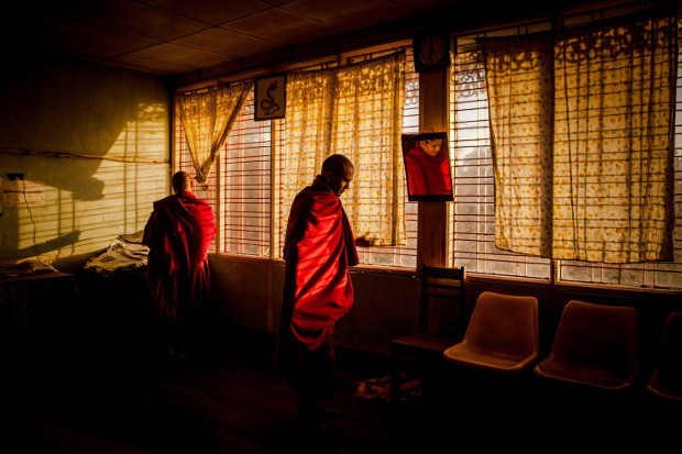 Monks at their home before morning alms in Myitkyina, Myanmar by Diana Markosian. Image courtesy of Magnum Photos