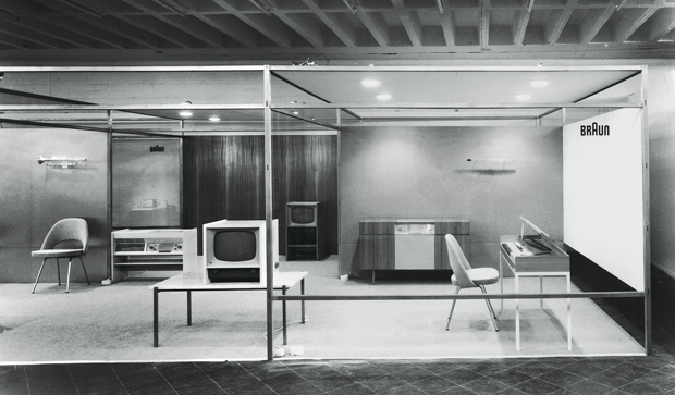A mock up of the D55 Braun pavilion at Ulm, 1955