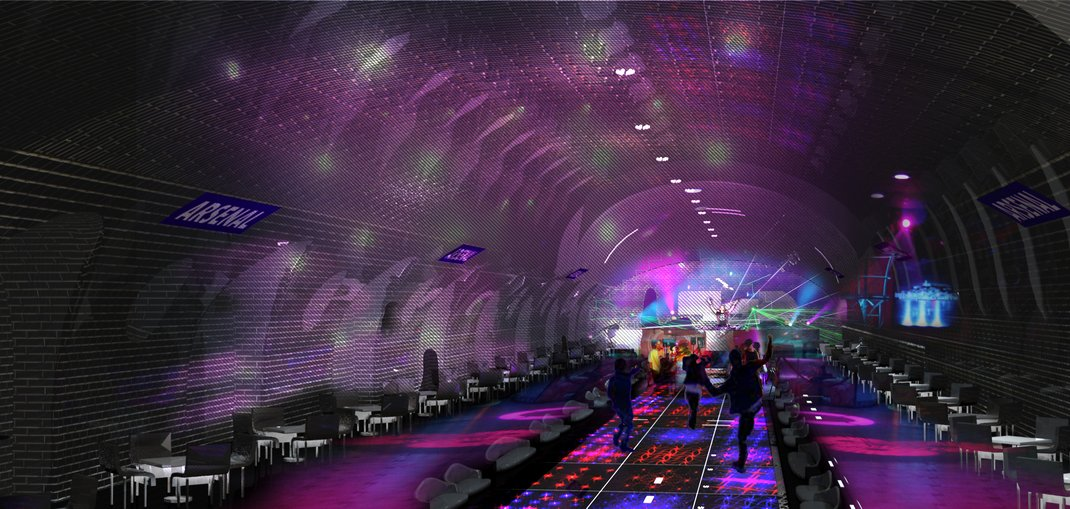 A Paris Metro stop reimagined as a disco, by architects Manal Rachdi and Nicolas Laisné
