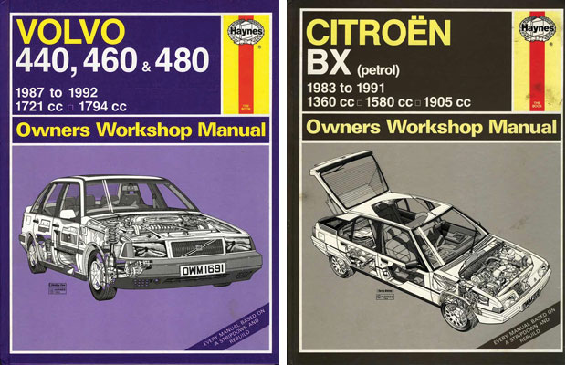 (Left) Haynes Manual, Volvo 440, 460 & 480 (Right) Citroën BX (petrol)