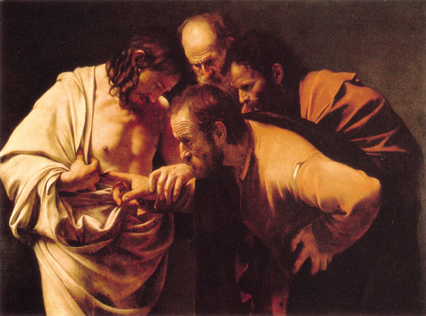 Caravaggio, Doubting Thomas (1599), Oil on canvas, 107 x 146 cm
