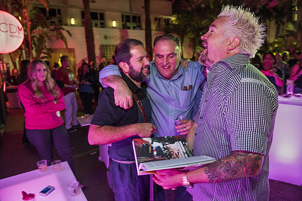 Enrique Olvera with Guy Fieri and Jose Andres at the South Beach Wine and Food Festival, 2016