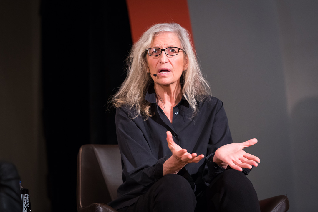 Annie Leibovitz speaking during her Times Talk, New York, October 2017