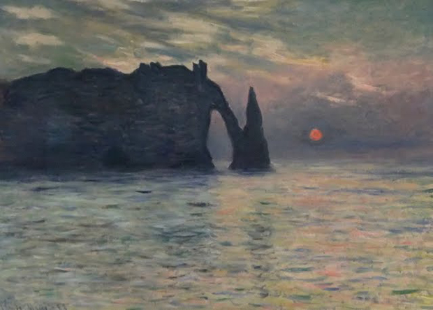 The Cliff, Etretat, Sunset (1883) by Claude Monet