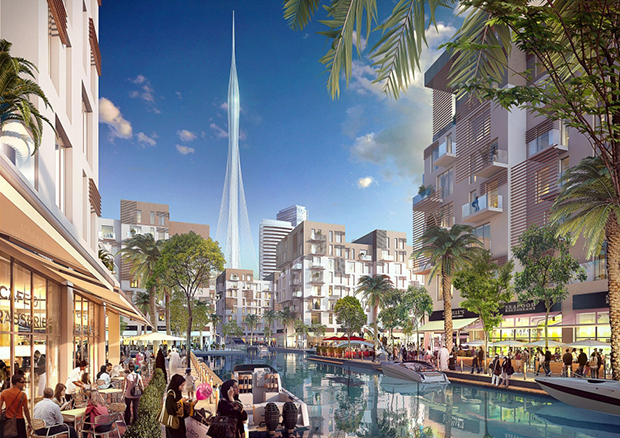 Architectural rendering for Santiago Calatrava's Dubai tower. Image courtesy of Emaar