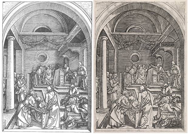 From left: Christ Among the Doctors in the Temple, plate 15 in Life of the Virgin (1503) by Albrecht Dürer; Christ Among the Doctors in the Temple, (c. 1506) by Marcantonio Raimondi, after Dürer
