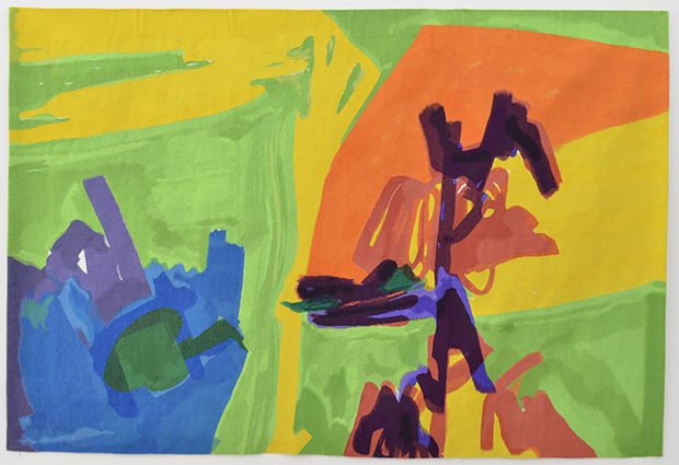 Etel Adnan L'etang Fleuri, 2016 Tapestry, wool (hand-woven by Pinton) Original tapestry design by the artist 1967-70. 148 x 217 cm. Image courtesy of the Flag Art Foundation.