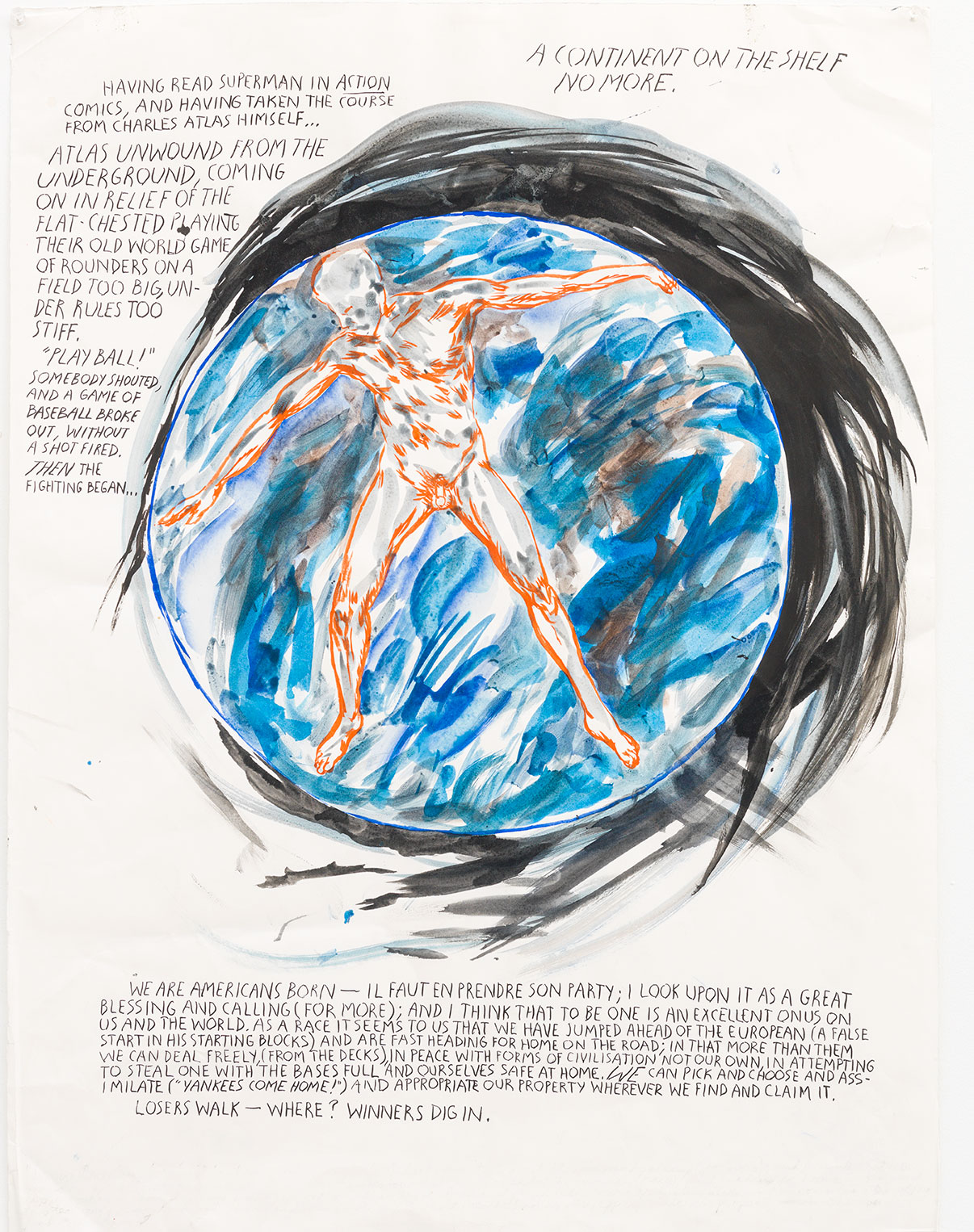 Raymond Pettibon, No Title (Having read superman), 2003. Pen and ink on paper, 30 ¼ x 22 ½ in (76.8 x 57.1 cm). Courtesy David Zwirner, New York/London. As featured in Raymond Pettibon: A Pen of All Work