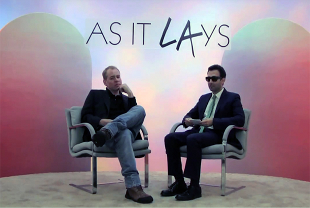 Bret Easton Ellis (right) and Alex Israel on Alex Israel's online talk show, As It Lays, 2012.