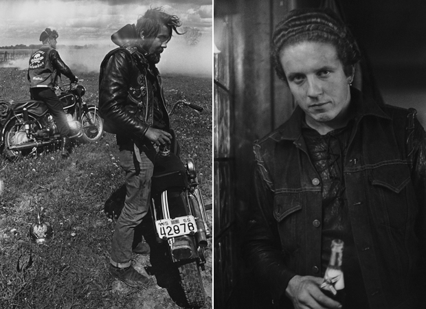 Photographs from Danny Lyon's series The Bikeriders (1963) - Zipco, Elkhorn, Wisconsin (left) and Funny Sonny, Chicago (right)