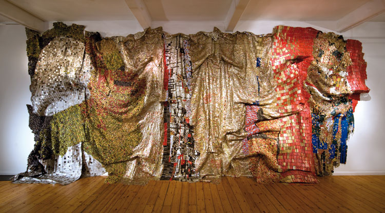 In the World, But Don't Know the World (2009) by El Anatsui, as featured in The 21st Century Art Book