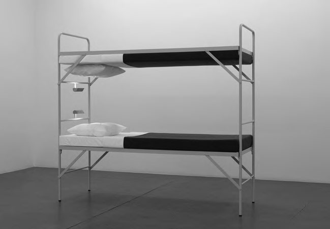 Boy Scout, 2008 Metal bunk bed, foam mattresses, sheets, pillows, woollen blankets, 188 x 207 x 77 cm. As reproduced in Co-Art