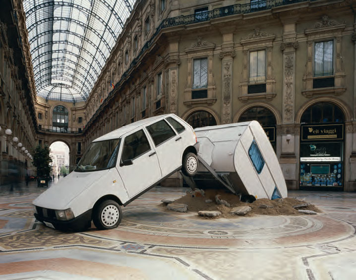 Short Cut, 2003 Mixed media, 250 x 850 x 300 cm Installation view at Galleria Vittorio Emanuele, Milan. As reproduced in Co-Art