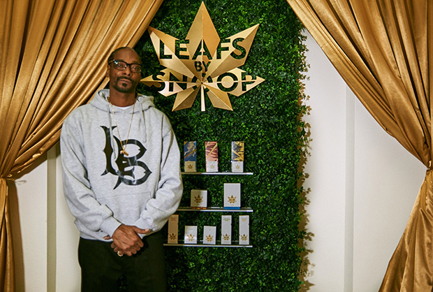 Snoop Dog at a Leafs by Snoop launch party in Denver, Colorado. Image courtesy of Pentagram