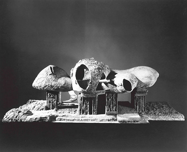 Exterior view of the Endless House model (1958) by Frederick Kiesler