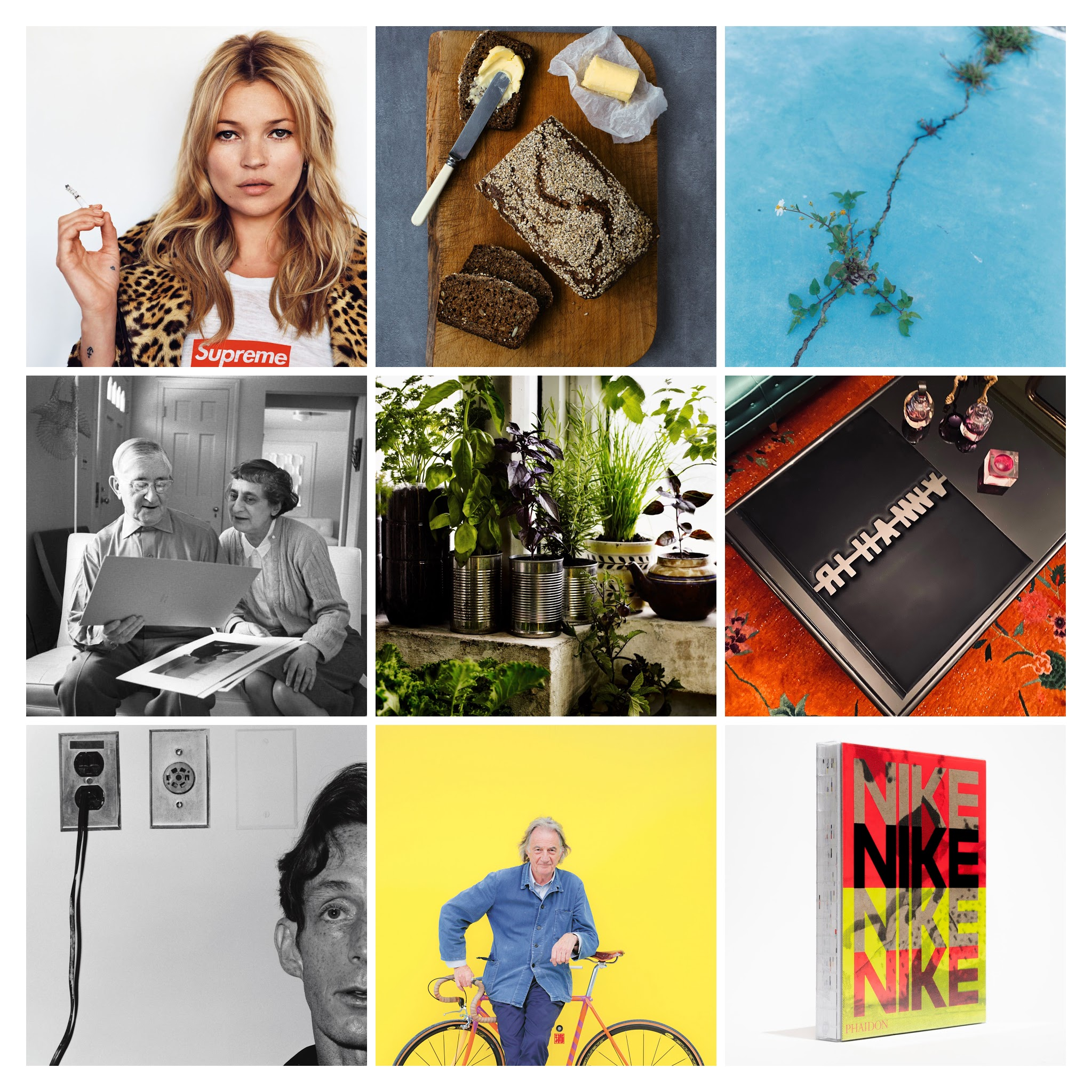 From top right, reading left to right: Kate Moss in Supreme; soda bread in The Irish Cookbook; Rinko Kawauchi, Untitled, from the eyes, the ears, 2005, in Flower; Anni and Josef Albers from Anni & Josef Albers; a container garden from Grow Fruit & Vegetables in Pots; Rihanna: Queen Size; John McKendry, 1975 by Robert Mapplethorpe, from Robert Mapplethorpe; Paul Smith from Paul Smith; Nike: Better is Temporary