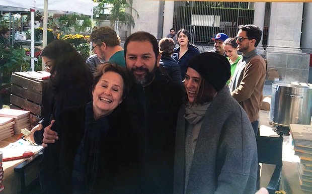 Enrique Olvera embraces Alice Waters (left) in New York, October 2015
